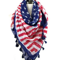 American Flag Scarf With Tassels