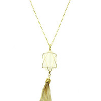 NECKLACE / NATURAL STONE / CHAIN TASSEL / LINK / CHAIN / 18 INCH LONG / 4 INCH DROP / NICKEL AND LEAD COMPLIANT
