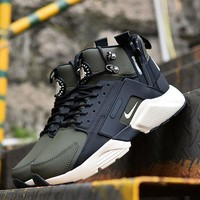 Sale Nike Air Huarache X Acronym City Customise MID Leather Sport Shoes Army Green White-1