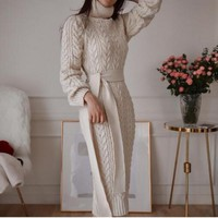 Autumn Winter Europe and United States Vintage womenwool dress thickening knit dress Casual Knitted Sweater Dresses 2019