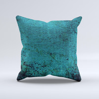 Grungy Teal Surface Ink-Fuzed Decorative Throw Pillow