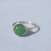 """Handmade Wire Wrapped Ring, Natural Aventurine Stone """"Briley"""""""