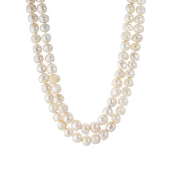 """18"""" Double Strand Baroque White Pearls Necklace"""