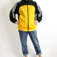 Vintage 90's Yellow Black White Stripes Sport Track Jacket, Adidas Windbreaker, Trefoil Jacket