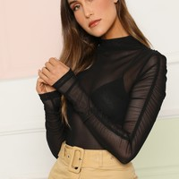 Ruched Sleeve Mesh Top Without Bra