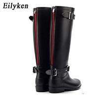 Women Knee Length Zipper Rain Boots