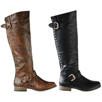Womens Fashion Knee High Boots Riding Winter Faux Leather Flat Heels Shoes Size