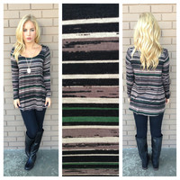 Olive Stripe Modal Long Sleeve Top