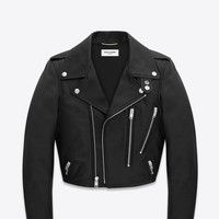 Saint Laurent Cropped Motorcycle Jacket In Black Leather | ysl.com