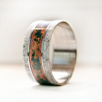 Mens Wedding Band With Antler Patina Copper and Titanium Ring