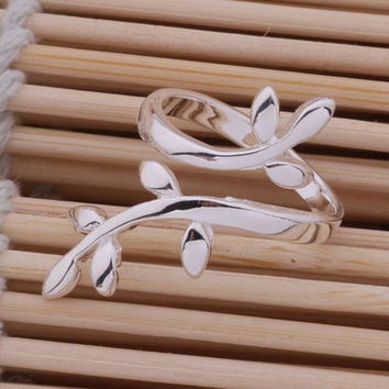 New fashion 925 Sterling silver the branch of tree ring adjustable hot gift (Color: Silver) = 1945884484