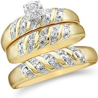 """Size - 7 - 10k Yellow and White 2 Two Tone Gold Mens and Ladies Couple His & Hers Trio 3 Three Ring Bridal Matching Engagement Wedding Ring Band Set - Round Diamonds - Solitaire Center Setting (.07 cttw) - SEE """"PRODUCT DESCRIPTION"""" TO CHOOSE BOTH SIZES"""