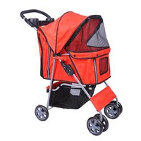 Folding 4- Wheeled Pet Stroller - Red
