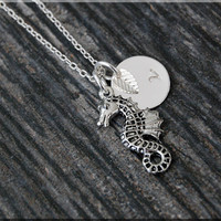 Silver Seahorse Charm Necklace, Initial Charm Necklace, Personalized, Sea Creature Charm, Seahorse Pendant, Ocean Jewelry, Beach charm