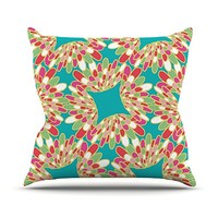 "Kess InHouse Miranda Mol Wings Throw Pillow, 16"" by 16"", Green Teal"