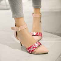 Pointed Toe Ankle Straps Flower Printed Stiletto Heel Women Sandals 5100