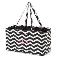 Large Utility Tote Bag Chevron Carry All Black Monogrammed Personalized Beach Pool Zig Zag