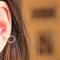 Silver Bow Ear Cartilage Cuff by JustSayLovely on Etsy