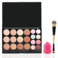 20 Shade Cream Contour Kit Including Double End Brush & Sponge Blender
