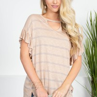Pinstriped Peach Flutter Top