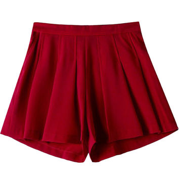Red Pleated Shorts