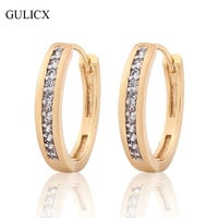 GULICX Vintage Small Earring for Women  Gold Platinum Plated Hoop Earrings White Crystal Zirconia Earing Fashion Jewelry E179