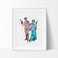 Han Solo & Leia Watercolor Art Print