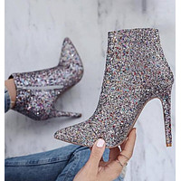 Rhinestone Zipper Women Fashion Pointed Toe Short Boots High Heels Shoes