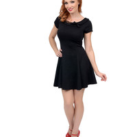 Black Damask Fit N Flare Short Sleeve Dress
