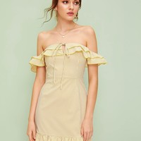 Striped Off The Shoulder Knot Front Ruffle Dress