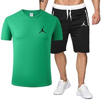 NIKE Jordan New fashion people print top and shorts two piece suit men Green