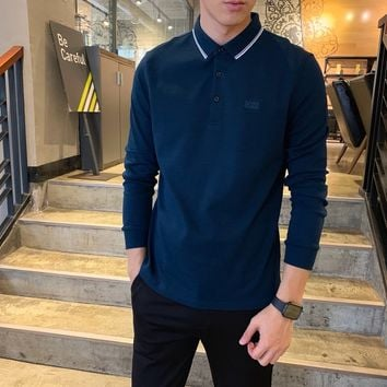"""""""Boss""""Men All-match Personality Casual Buttons Stripe Commercial Lapel Solid Color Leisure Long Sleeve Polo Shirt Tops"""