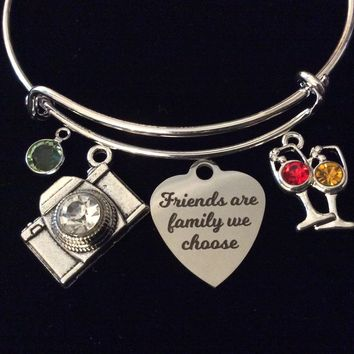 Custom Friends are Family We Choose Silver Expandable Charm Bracelet Camera Silver Adjustable Bangle BFF One Size Fits All Gift