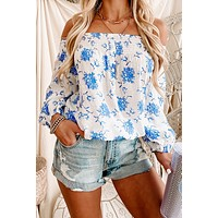 Refined Finish Floral Off The Shoulder Top (White/Blue)