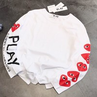 Comme Des Garçon Play Autumn Popular Women Casual Print Sweatshirt Sweater