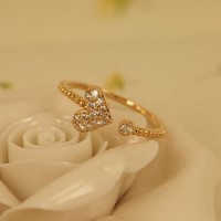 MagicPieces Rhodium Plated Alloy Rhinestone Heart Open Ring for Women Color Silver & Rose Gold