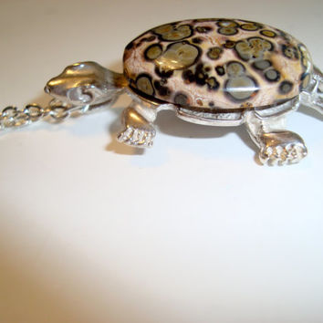 Sterling Silver Turtle with a Pokadot Jasper Gemstone Shell - Make a Statement - Hand Cast Turtle - Handmade Turtle