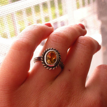 Bohemian Citrine ring in antique style sterling silver ring - boho chic, boho luxe, gypsy