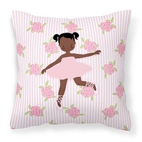 Ballerina African American Ponytails Fabric Decorative Pillow BB5192PW1818