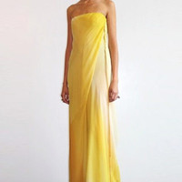 CHADO-2010 Yellow Chiffon Evening Dress, Size-8