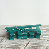 6 Distressed Teal Clothespins - Wood photo clips, Rustic wooden clips, Shabby Chic, Blue, Green, craft supplies, party supplies, wood pegs