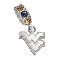 Dayna U West Virginia Mountaineers Sterling Silver Crystal Logo Charm (Blue/Silver/Yellow)