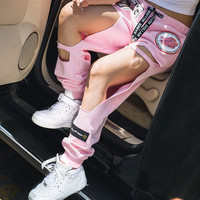 New Fashion 2016 Women Harem Pants Hole Character Print Fashion Pant Long Trousers Pantalon Femme Sweatpants Free Shipping