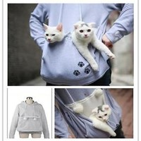 Japanese Nyangaroo Grey Cat Dog Pet Casual hoodie Unisex pullover Outwear Coat