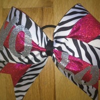 Pink and zebra Yolo cheer bow