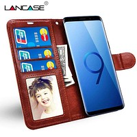 LANCASE Wallet Case for Samsung Galaxy S9 Case Luxury Leather