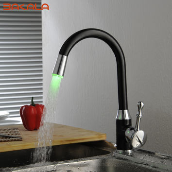 BAKALA Oil Rubbed Bronze LED Kitchen Faucets Swivel Sink Mixer Tap S-118