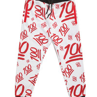 Red 100 Emoji Joggers Pants