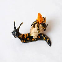 Sculpture Snail-salamander snail of polymer clay, Snail totem,snail figurine with flowers,good gift,handmade