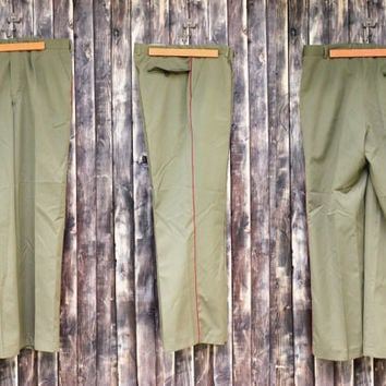 Vintage man's Bulgarian army trousers field trousers military pants olive green canvas pants military trousers camo army Halloween costume
